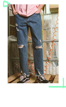 Load image into Gallery viewer, New Men Classic Jeans Brand Hole Straight Pantalon Homme Jean Slim Distressed Design Biker Denim Pants Blue Men Jeans