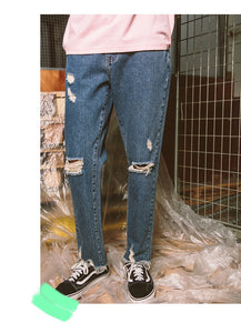 New Men Classic Jeans Brand Hole Straight Pantalon Homme Jean Slim Distressed Design Biker Denim Pants Blue Men Jeans
