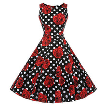 Load image into Gallery viewer, Kostlich Floral Print Summer Dress Women  Sleeveless Tunic 50s Vintage Dress Belt Elegant Rockabilly Party Dresses Sundress