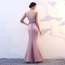 Load image into Gallery viewer, elegant party mermaid prom dresses evening dress Vestido de Festa gown lace sexy satin long formal - moonaro