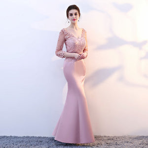 elegant party mermaid prom dresses evening dress Vestido de Festa gown lace sexy satin long formal - moonaro
