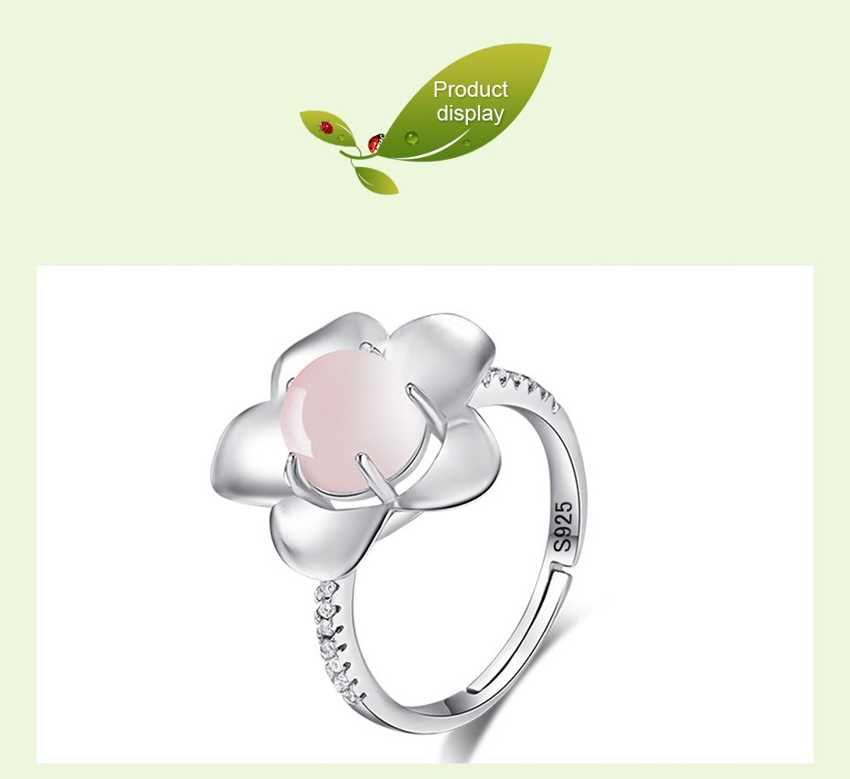 Real 925 Sterling Silver Ring Women Fine Jewelry Rose Quartz Wedding Rings For Women