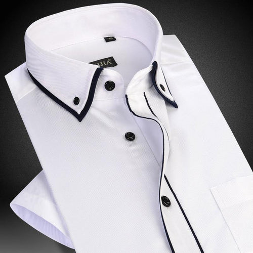 Men's Short Sleeve Double Layer Collar with Black Piping Dress Shirt White Summer Smart Casual Slim-fit Thin Twill Male Shirts