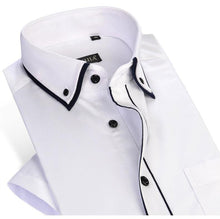 Load image into Gallery viewer, Men's Short Sleeve Double Layer Collar with Black Piping Dress Shirt White Summer Smart Casual Slim-fit Thin Twill Male Shirts - moonaro