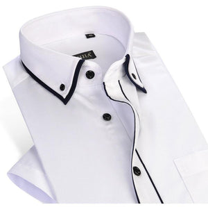 Men's Short Sleeve Double Layer Collar with Black Piping Dress Shirt White Summer Smart Casual Slim-fit Thin Twill Male Shirts - moonaro
