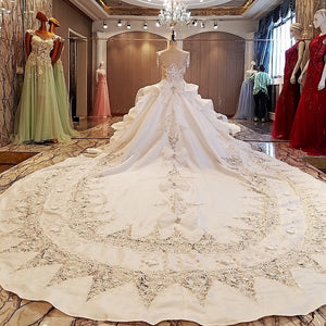 Gorgeous ivory bridal gown 3D flowers beading sleeves ball gown lace wedding dress vestidos de noivas - moonaro