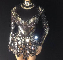 Load image into Gallery viewer, Shining Silver Mirrors Stone Dress Female Singer Dancer Bright Bodysuit Costume One-piece Nightclub Dress