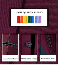 Load image into Gallery viewer, Men Suit  Designer Suit For Wedding Slim Fit One Button Burgundy Tuxedo Jacket Mens Business Formal Suits