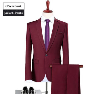 Men Suit  Designer Suit For Wedding Slim Fit One Button Burgundy Tuxedo Jacket Mens Business Formal Suits