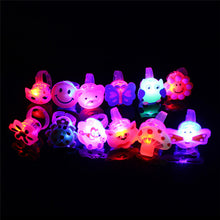 Load image into Gallery viewer, 5pcs/lot Cartoon LED Flashing Light Up Glowing Finger Ring Toys Christmas New Year Party Favor Gifts Toys for Children - moonaro
