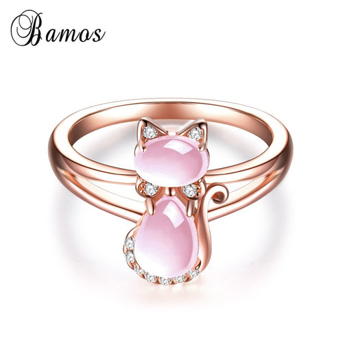 Pink Natural Stone Cute Cat Ring Exquisite Rose Gold Color Animal Rings For Women Luxury Crystal Jewelry