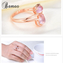 Load image into Gallery viewer, Pink Natural Stone Cute Cat Ring Exquisite Rose Gold Color Animal Rings For Women Luxury Crystal Jewelry