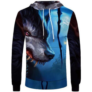 Wolf Hoodies Men Lightning Men'tops Clothing Cloud Pocket Animal Hoddie Sweatshirt 3d Hoodies Hip Hop Casual