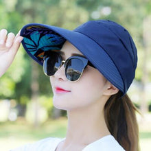 Load image into Gallery viewer, Hot 1PCS women summer Sun Hats pearl packable sun visor hat with big heads wide brim beach hat UV protection female cap