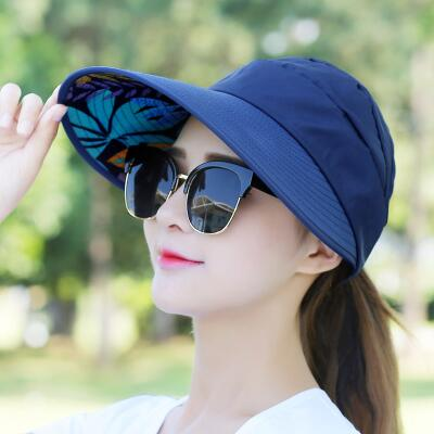 58dcfee8b Hot 1PCS women summer Sun Hats pearl packable sun visor hat with big heads  wide brim beach hat UV protection female cap
