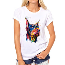 Load image into Gallery viewer, Funny Color Dog women's Tshirt Novelty Pattern Fashion Painted Animals women shirt dog Summer Girl Tshirt Tops Clothing - moonaro