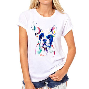 Funny Color Dog women's Tshirt Novelty Pattern Fashion Painted Animals women shirt dog Summer Girl Tshirt Tops Clothing - moonaro