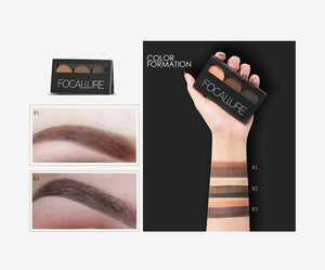 Eyebrow Powder 3 Colors Eye brow Powder Palette  Waterproof and Smudge Proof With Mirror and Eyebrow Brushes Inside - moonaro