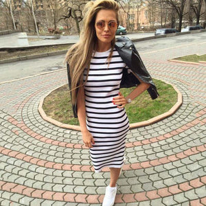 Women Maxi Long Slim Dresses Casual Loose Cotton Sundress for Female