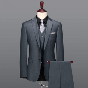 Slim fit grey blazer vest pant 3pcs set plus size father day gifts classic two button 100% wool - moonaro