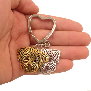 2018 New Cute Lhasa Apso Dog Animal Purse Handbag Metal Pendant Keychain For Bag Car Women Men Key Ring Love Jewelry K157 - moonaro