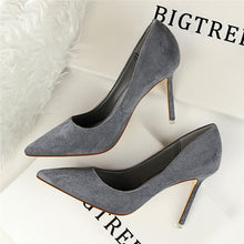 Load image into Gallery viewer, New Arrival Korean Concise Pointed Toe Office Shoes Women's Fashion Solid Flock Shallow High Heels Shoes for Women 9 Colors
