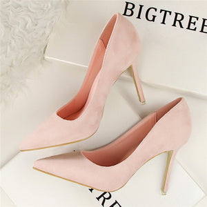New Arrival Korean Concise Pointed Toe Office Shoes Women's Fashion Solid Flock Shallow High Heels Shoes for Women 9 Colors