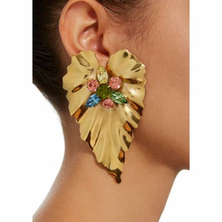 Leaf Big Earrings for Women Gold Color Statement Earrings  large vintage drop Earrings party Fashion Jewelry