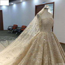 Load image into Gallery viewer, Surmount Luxury Beading Wedding Dress Boat Neck Cap Sleeve Ball Gown Hand Sewing Crystal Cathedral/Royal Train Wedding Gown