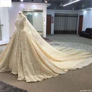 Surmount Luxury Beading Wedding Dress Boat Neck Cap Sleeve Ball Gown Hand Sewing Crystal Cathedral/Royal Train Wedding Gown