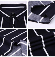 Load image into Gallery viewer, Men's Contrast Wide Stripe Short Sleeve Dress Shirts Comfortable Soft Slim Fit Summer Thin Smart Casual Button-down Office Shirt