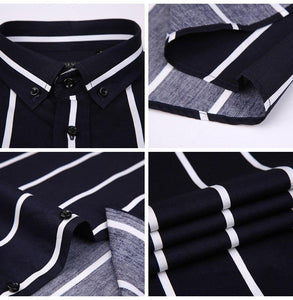 Men's Contrast Wide Stripe Short Sleeve Dress Shirts Comfortable Soft Slim Fit Summer Thin Smart Casual Button-down Office Shirt