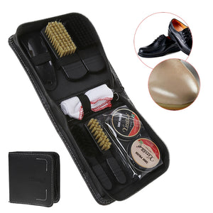 Shoes Care Kit Cleaning Shine Polish Brush Set With Storage Bag For Leather Shoe