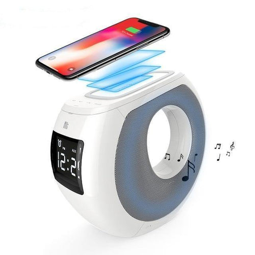 Multi-functional qi wireless charger+bluetooth speakers+portable alarm clock+ HF Call+NFC Pair+LCD Display Cozy Simple