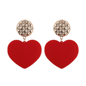 Best lady New Charm Heart Pendant Statement Earrings for Women Earrings Fashion Wedding Jewelry - moonaro
