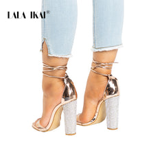 Load image into Gallery viewer, Women Heeled Sandals Bandage Rhinestone Ankle Strap Pumps Super High Heels 11 CM Square Heels Lady Shoes 014C1931 -4