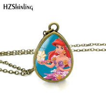Load image into Gallery viewer, The Little Mermaid Pendant Necklace Tear Drop Pendants Glass Dome Jewelry Ariel Princess Necklaces Gifts Girl Child