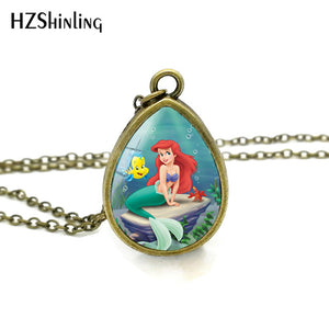 The Little Mermaid Pendant Necklace Tear Drop Pendants Glass Dome Jewelry Ariel Princess Necklaces Gifts Girl Child
