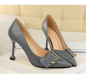 Women Shoes High Heel Pointed Toe Women Shoes Hoof Heels Shallow Buckle Strap Pumps