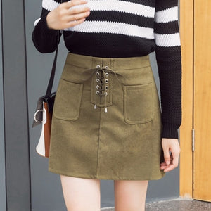 Women Mini Suede Pencel Skirt Lace-up Retro Package Hip High Waist A-line Skater Skirt