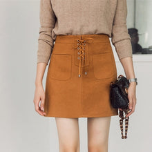 Load image into Gallery viewer, Women Mini Suede Pencel Skirt Lace-up Retro Package Hip High Waist A-line Skater Skirt