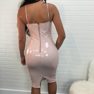 Women  Mini Vinyl Dresses Leather Bodycon Sexy Party Dress  New Cream White