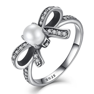 925 Sterling Silver Rings Delicate Sentiments Bow Knot Ring with Imitation Pearl & Clear CZ for Women - moonaro