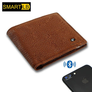 Anti-theft Smart Men Wallet Genuine Leather with Bluetooth and GPS Purse Card Holders for iOS Android