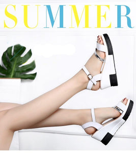 Shoes Summer platform Narrow Band Buckle Strap Style Flat Heel Soft Leather Casual Ankle Strap Woman Beach Sandals - moonaro