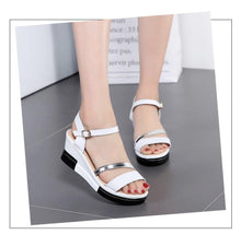 Load image into Gallery viewer, Shoes Summer platform Narrow Band Buckle Strap Style Flat Heel Soft Leather Casual Ankle Strap Woman Beach Sandals