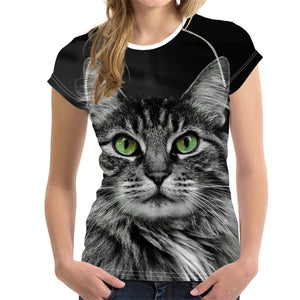 Black 3D Cat Animal Women Casual T Shirt Brand Clothing Women Short Sleeved Breathable Tshirt Female Fitness Tops - moonaro