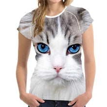 Load image into Gallery viewer, Black 3D Cat Animal Women Casual T Shirt Brand Clothing Women Short Sleeved Breathable Tshirt Female Fitness Tops - moonaro