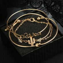 Load image into Gallery viewer, 4pcs/1set Gold Color Cactus Letter Knot Bracelet Bohemian Geometric Metal Chain Bracelet Statement Jewelry - moonaro