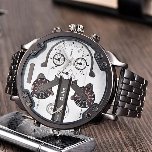 Huge Two Time Zone Men's Watches Top Luxury Brand Male Quartz Big Size Watch Individuality Large Men Military Wristwatch